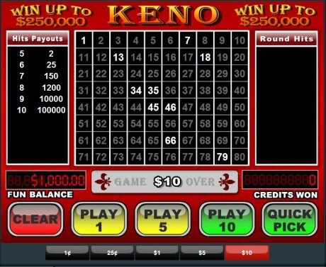 Keno betting strategies